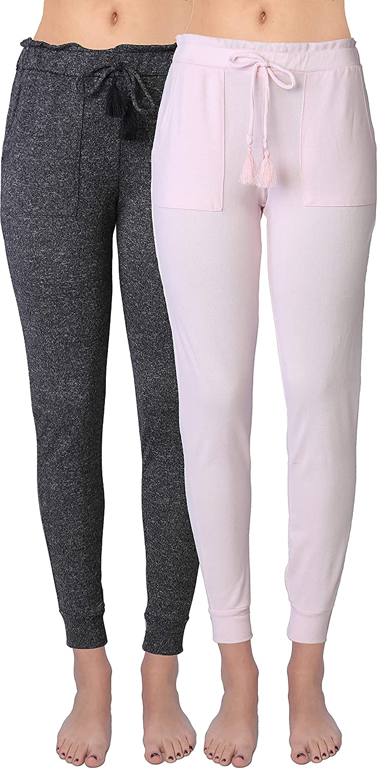 Active Club Women's Soft Pants Lightweight Jogger Sweatpants Cuffed Leggings with Side Pockets and Drawstring Closure-2 Pack