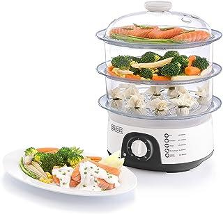 Black+Decker 775W 10 Liter 3-Tier Food Steamer with Timer, White - HS6000-B5, 2 Years Warranty