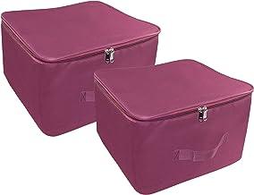 Storite 2 Pack Nylon Wardrobe Bag Underbed Moisture Proof Cloth Storage Organiser with Zippered Closure & Handle (Magenta, 38x35.5x25.4 cm) Rectangular