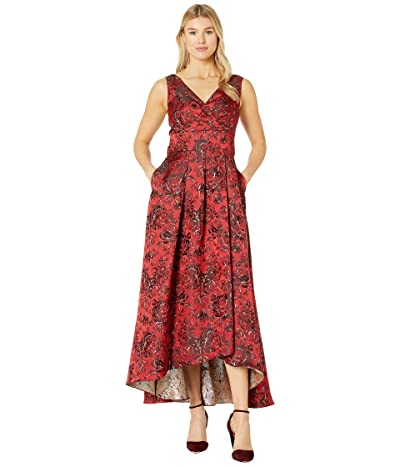 Alex Evenings Long Printed Ballgown with Tie Bow Detail (Red/Multi) Women