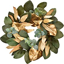 Cloris Art Christmas Wreath, Artificial Eucalyptus & Magnolia Leaves 22 - 24 Inch Green & Gold Front Door Wreaths for Home...