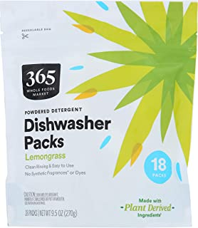365 by Whole Foods Market, Dishwasher Powdered Detergent Packs, Lemongrass, 18 Count