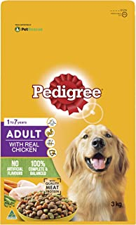 PEDIGREE Adult Chicken Dry Dog Food 3kg Bag, 4 Pack, Adult, Small/Medium/Large