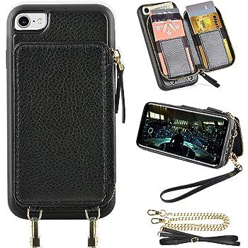 iPhone SE2ケース用【第2世代】iphone7対応ケース ZVE® iphone 8用 ケース カード収納 財布型 お札入れ スタンド機能 斜め掛けチェーン&ストラップ付き カード入れ 背面財布型カバー レザーケース アイフォン7/アイフォン8/アイフォンSE2兼用 4.7インチ(ブラック)