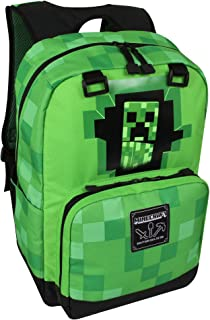 JINX Minecraft Creepy Creeper Kids School Backpack, Green, 17