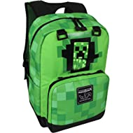 "JINX Minecraft Creepy Creeper Kids School Backpack, Green, 17"""