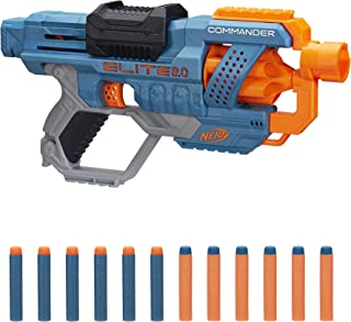 NERF Elite 2.0 Commander RD-6 Blaster, 12 Official Darts, 6-Dart Rotating Drum, Tactical..