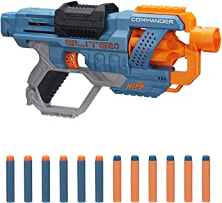 NERF Elite 2.0 Commander RD-6 Blaster, 12 Official Darts, 6-Dart Rotating Drum, Tactical Rails, Barrel and Stock Attachmen...