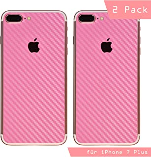iShield Carbon Fiber Foil - Adhesivos Resistentes a arañazos para la Parte Trasera del iPhone 6 Plus/6S Plus/7 Plus/8 Plus 2 ultrafinos, 70 micrones (i7Plus, Rosado)
