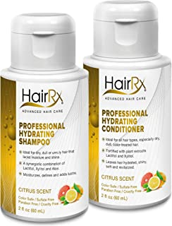 HairRx Professional Hydrating Shampoo & Conditioner Travel Set, Luxurious Lather, Citrus Scent, 2 Ounce Bottles
