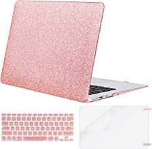 MOSISO Plastic Hard Shell Case & Keyboard Cover & Screen Protector Only Compatible with MacBook Air 13 inch (Models: A1369 & A1466, Older Version 2010-2017 Release), Shining Rose Golden
