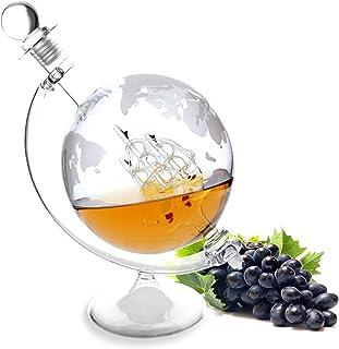 Lantelme Cognac Karaffe mit Schiff aus Glas mit Ständer 1000ml Inhalt mit eingraviertem Globus Whisky Wein Dekanter 8293