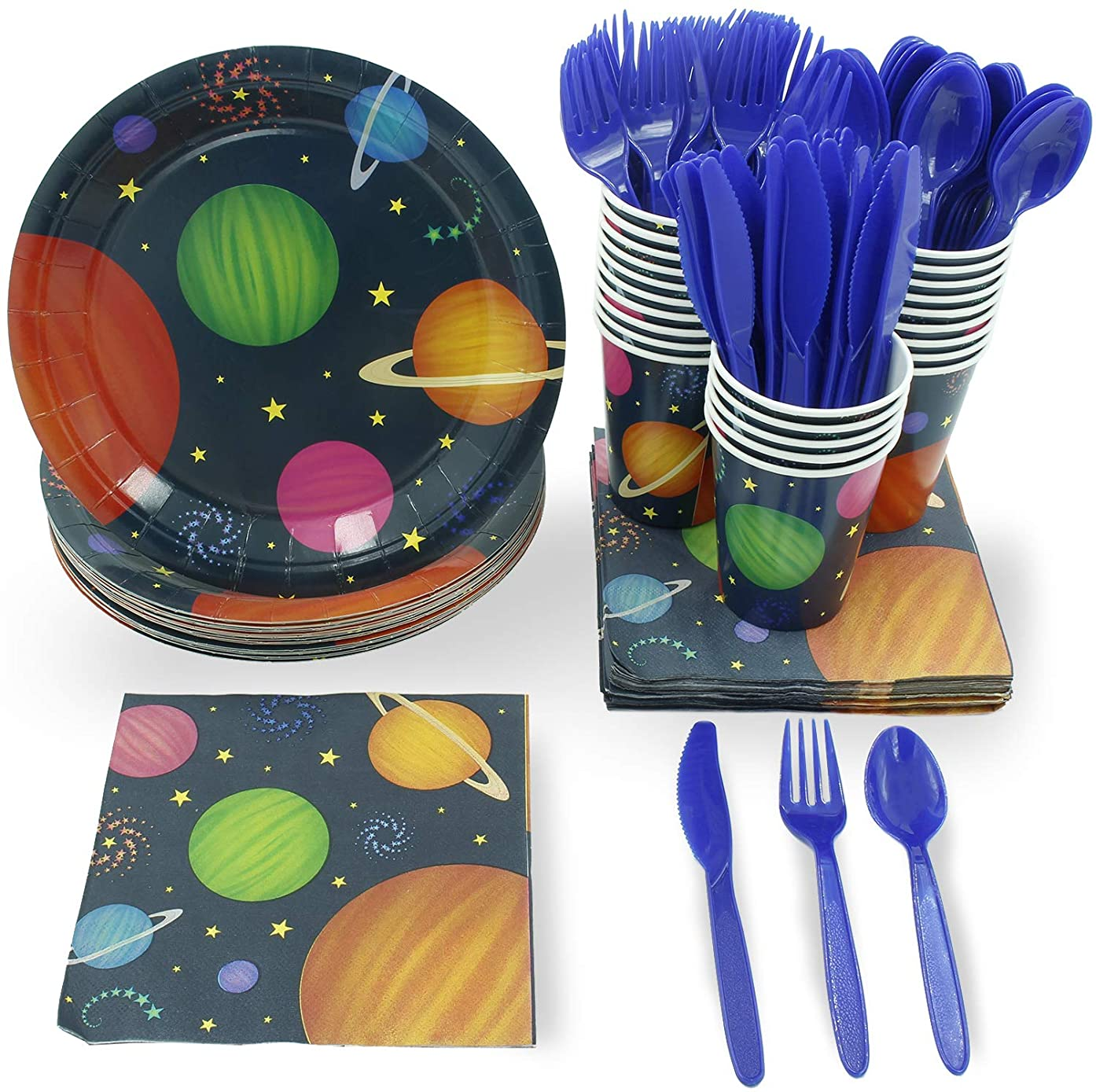 Juvale Outer Space Party Supplies – Serves 24 – Includes Plates, Knives, Spoons, Forks, Cups and Napkins. Perfect Outer Space Birthday Party Pack for Kids Planet Themed Parties.