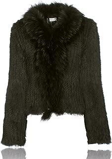Knitted Rabbit Fur Jacket with Raccoon Fur Collar Coat