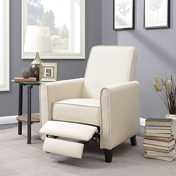 Belleze Modern Living Room Furniture Design Recliner Club Linen Chair Accent Beige