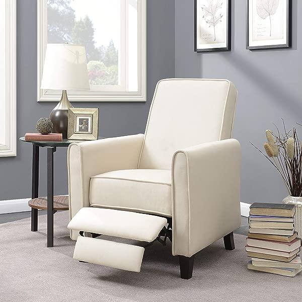 Belleze 现代客厅家具设计躺椅俱乐部亚麻椅子口音米色