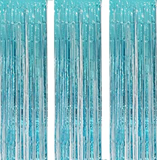 3 Pack 3.2ft x 6.6ft Turquoise Metallic Foil Fringe Backdrop Tinsel Sparkle Door Window Curtain Backdrop for Birthday Bach...