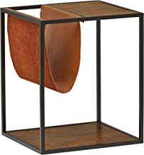 Rivet Heather Modern End Table, 17.7 Inch Weight, Walnut