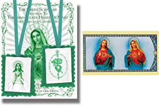 Green Cloth Scapular Immaculate Heart of Mary and Free Blessed By His Holiness Prayer Card
