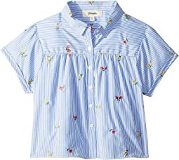 Button Front Shirt with Floral Print (Big Kids)