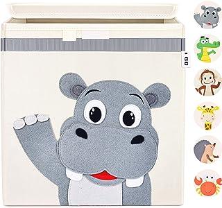 I GO Boîte de rangement Boîte à jouets pour enfants avec couvercle pour étagère de chambre d'enfant 33x33x33cm, hippo