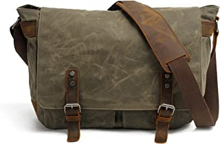 Men's Waxed Canvas Messenger Bag Shoulder Crossbody Laptop School Bag Satchel HuaChen (M49_Army Green)