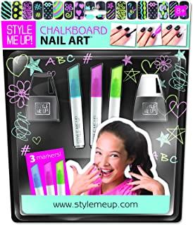 Style Me Up - Chalkboard Nail Art Set with Instructions - for Birthday Present and Nail Parties - SMU-1659