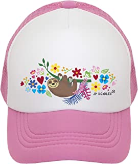 JP DOoDLES Sloth on Kids Trucker Hat. Kids Baseball Cap is Available in Baby, Toddler, and Youth Sizes.