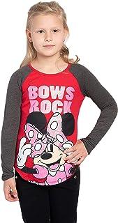 Disney Girl's T-Shirt Minnie Mouse Glitter Bow Raglan Polka Dot Print