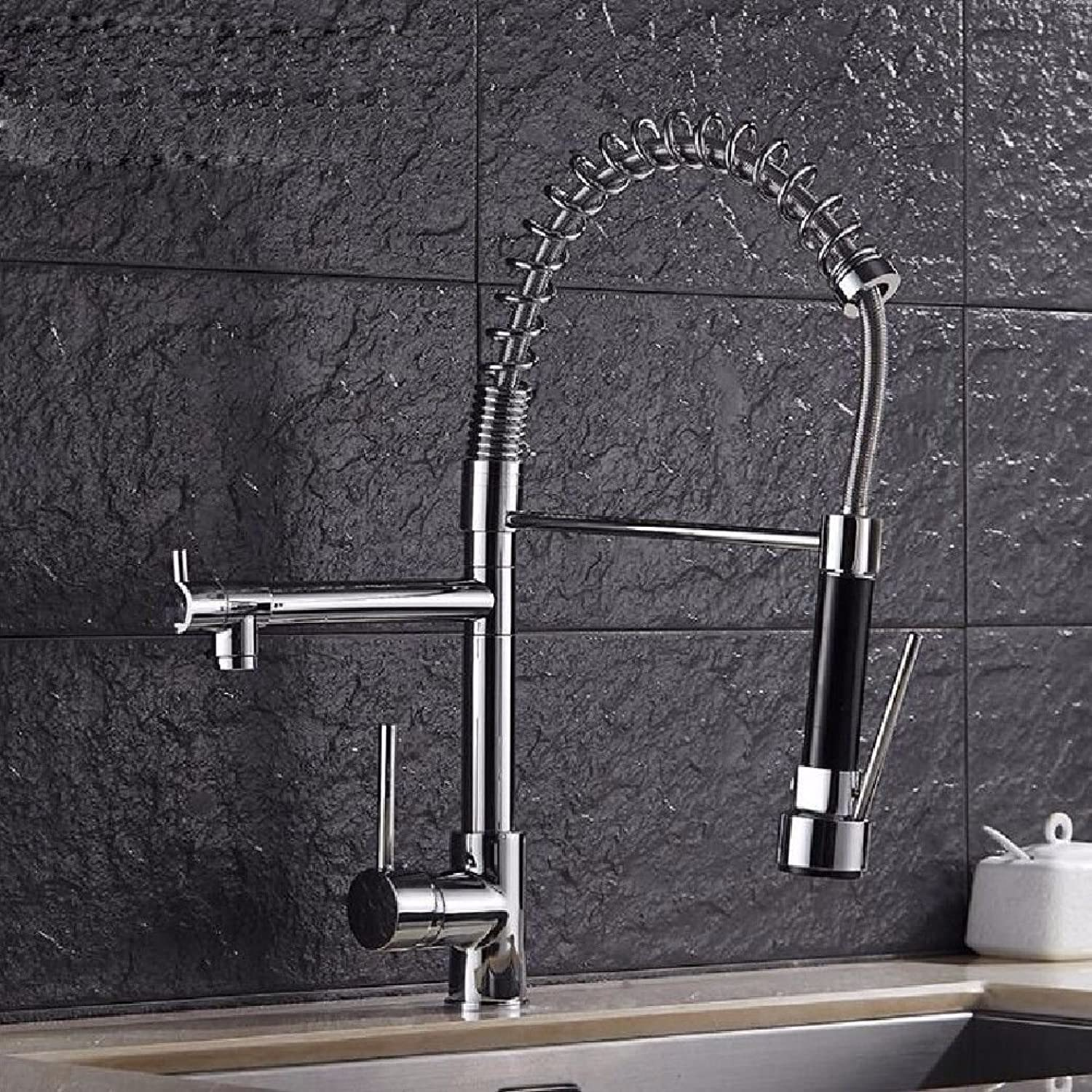 Lalaky Taps Faucet Kitchen Mixer Sink Waterfall Bathroom Mixer Basin Mixer Tap for Kitchen Bathroom and Washroom Spring Pull-Out Telescopic Double-Outlet Hot and Cold