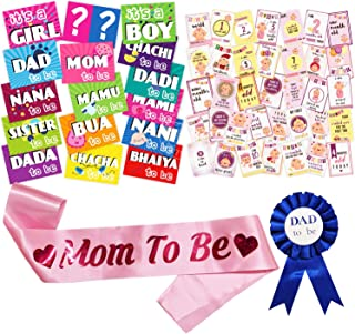 WOBBOX Baby Shower Combo of Photo Booth Party Props, Sash and Milestone Cards - Combo UX