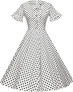 GownTown Women's 1950's Retro Polka Dot Swing Stretchy Dresses