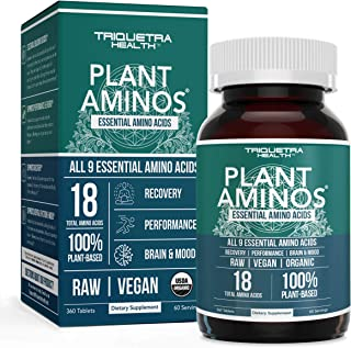 Plant Aminos Organic Essential Amino Acids (EAAs) & BCAA - 100% Plant-Based Raw, Vegan - All 9 Essential Amino Acids with ...