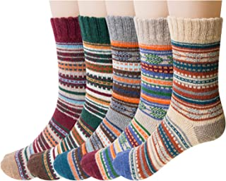 5 Pack Womens Wool Socks Winter Warm Vintage Thick Knit...
