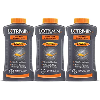 Lotrimin AF Athlete's Foot Antifungal Powder, Miconazole Nitrate 2% Treatment, Clinically Proven Effective Antifungal Treatment of Most AF, Jock Itch and Ringworm, 3 Ounces Bottle (Pack of 3)