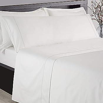ESTELA - Juego de sábanas de satén LISTADO Color Blanco (4 Piezas) - Cama de 150 cm. - 100% Algodón - Satén de 300 Hilos - con Bajera Ajustable de 40 cm. de Altura.: Amazon.es: Hogar