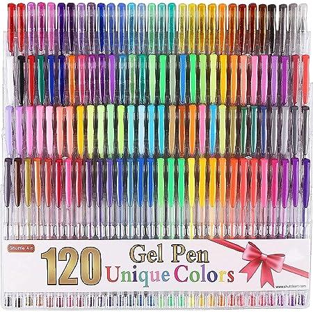 Shuttle Art 120 Unique Colors (No Duplicates) Gel Pens Gel Pen Set for Adult Coloring Books Art Markers