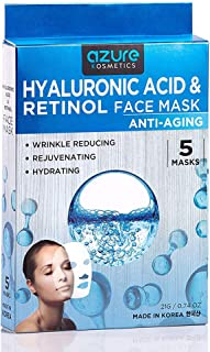 Hyaluronic Acid and Retinol Anti-Aging Face Mask by Azure - Helps Reduce Fine Lines and Wrinkles | Leaves Skin Feeling Soft and Hydrated | Improves Uneven Skin Tone - 5 Pack