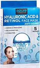 Hyaluronic Acid and Retinol Anti-Aging Face Mask by Azure - Helps Reduce Fine Lines and Wrinkles   Leaves Skin Feeling Soft and Hydrated   Improves Uneven Skin Tone - 5 Pack