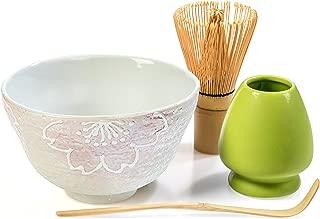 Tealyra - Matcha - Start Up Kit - 4 items - Matcha Green Tea Set - Japanese Handmade Earthenware White Bowl - Bamboo Whisk and Scoop - Whisk Holder - Gift-Box