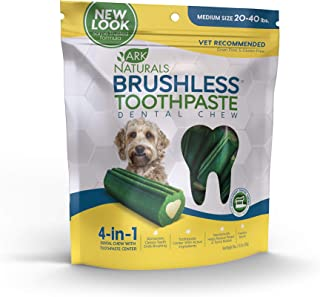 Ark Naturals Brushless Toothpaste, Dog Dental Chews for Medium Breeds, Vet Recommended for Plaque, Bacteria & Tartar Control