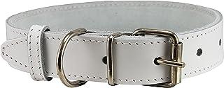 Genuine Leather Dog Collar White 7 Sizes