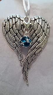 December Birthstone Angel Wings Memorial Ornament