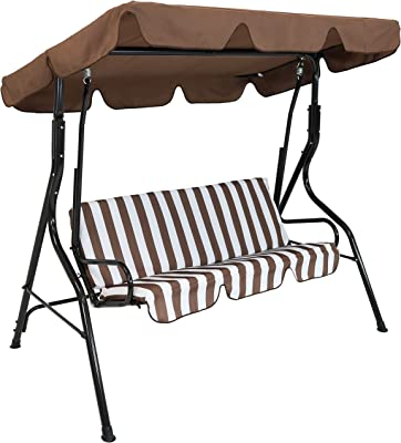 Sunnydaze Outdoor Porch Swing with Adjustable Canopy and Durable Steel Frame, 2-Person Patio Seater, Brown Striped Seat Cushions