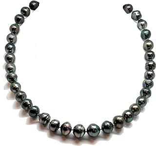 Bonyak Jewelry Tahitian Pearl Strand Necklace, Baroque Semi-Round Pearls 9-12 mm w/14k White Gold Ball Clasp