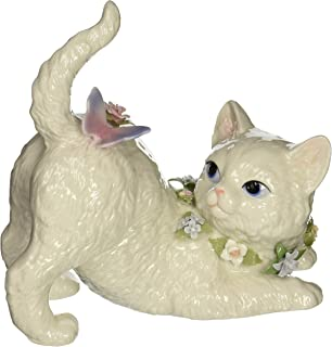 Cosmos SA49116 Fine Porcelain Cat Watching Butterfly Musical Figurine, 7-1/8-Inch