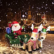 VIVOHOME 6.9ft Long Christmas Inflatable LED Lighted Santa on Sleigh with Reindeers and Gift Boxes Blow up Outdoor Yard Decoration