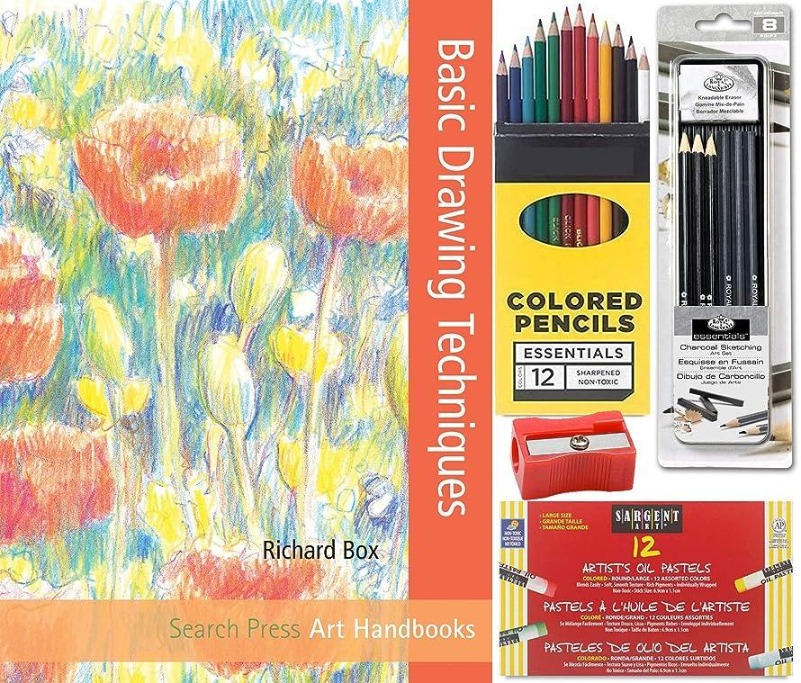 Techniques Charcoal & Pastels Drawing Studio Sketching Book/Pencils/Eraser/Sharpener/Artist tin Soft - Medium - charcoals & Graphite + Colored Pencils Creative Bundle