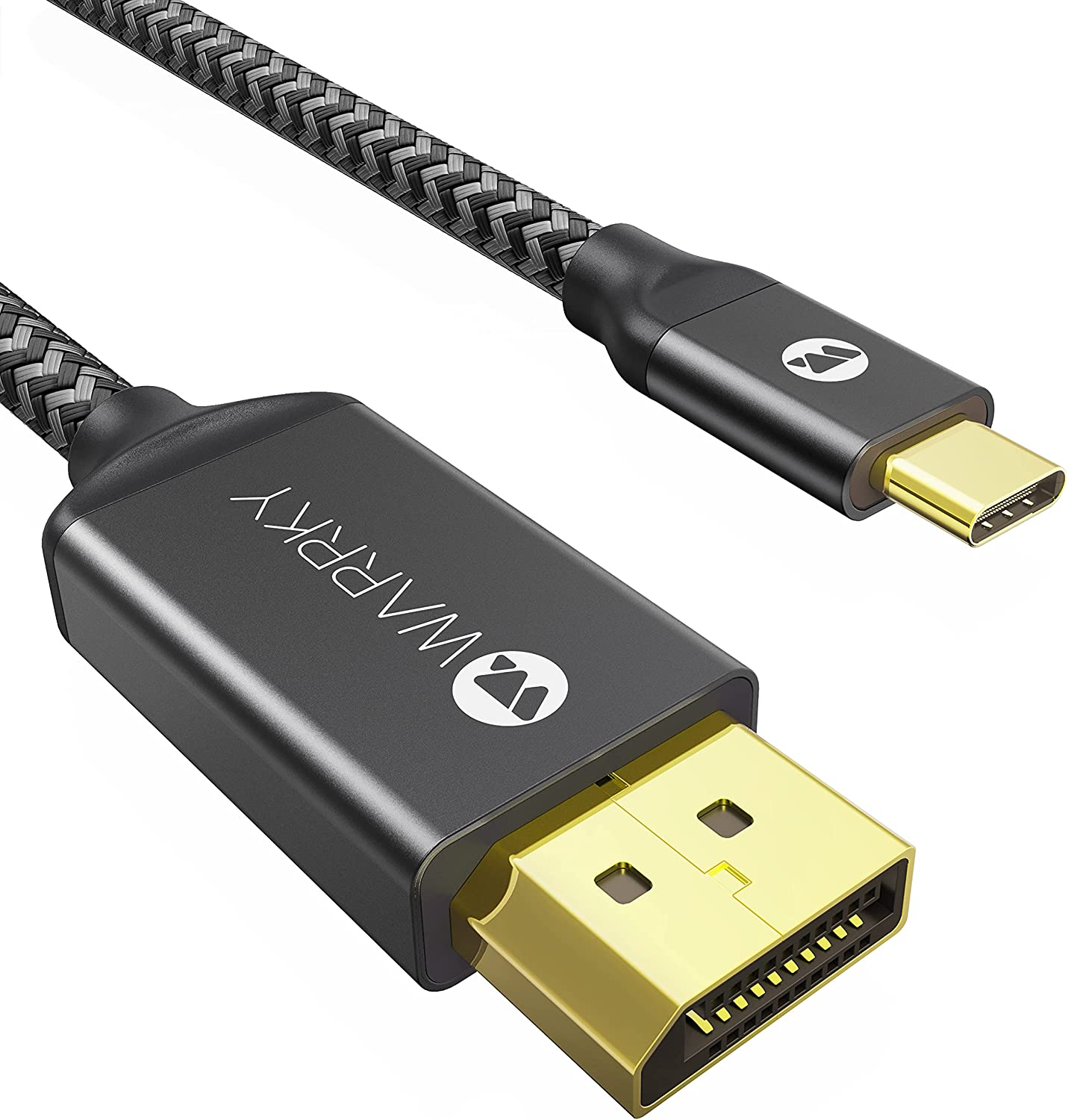 USB C to DisplayPort Cable (4K 60Hz, 2K 144Hz / 165Hz), WARRKY [Gold-Plated Anti-Interference] Thunderbolt 3 and 4 Compatible Adapter for MacBook Pro/Air 2020, New iPad, XPS 15/13 - Active, 6ft