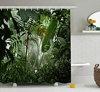 Manerly Watercolor Tropical Plants Decor Jungle Green Banana Leaves Shower Curtain, Polyester Fabric Bathroom Curtain Set with Hooks,72X72 inches